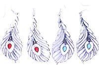 Bronze vintage crystal plume de paon forme boucles d'oreilles 2 couleurs