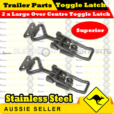 2x LARGE STAINLESS STEEL OVER CENTRE TOGGLE LATCH 100mm - TOOL BOX TRUCK TRAILER