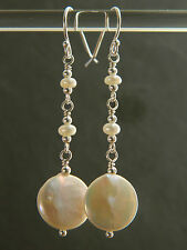 4235f4ca4 Ivory White Freshwater Coin & Seed Pearls & 925 Sterling Silver Bridal  Earrings