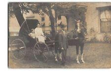 1908 Horse & Covered Carriage -RPPC Photo Postcard Morning Sun, Iowa -P4