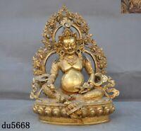 Tibetan temple Tantric Bronze 24k gold Gilt Yellow Jambhala Mammon Buddha statue