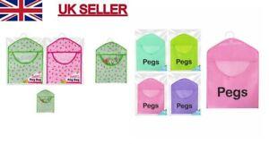 HANGING PEG BAG HANGER GREEN PINK CLOTHES LAUNDRY WASHING LINE PEGS HOLDER U.K