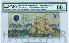 1988 AUSTRALIA $10 BANKNOTE POLYMER BICENTENNIAL - CERTIFIED PMG 66 EPQ GEM UNC