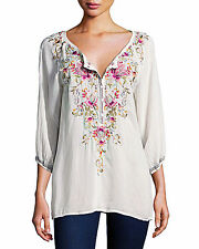 """NWT JOHNNY WAS Sz S  Off-White """"Moon Blouse"""" Embroidered Tunic Top"""