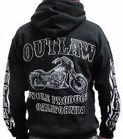 OUTLAW CYCLE PRODUCTS NEW LOGO BIKER HOODIE BLACK SWEATSHIRT