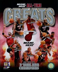 Miami Heat All-Time Greats NBA Basketball Licensed 8x10 Matte Photo A6