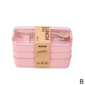 Lunch Box 3 Layer Wheat Straw Bento Box Microwave Food Container Lunchbox.