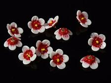 (11) antique Venetian lampworked realistic red white flower glass buttons beads