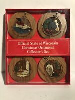 Vintage Wooden State of Wisconsin Christmas Ornament Collector's Set 90's WI