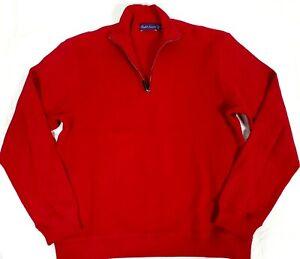 #613 Ralph Lauren Purple Label 1/4 Zip Mock Neck Sweatshirt Mens M Red
