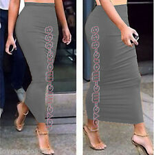WOMEN PlainTight Fitted Slim Casual Club Party Tube Tunic Long skirt Dress LARGE