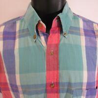 Vtg Cluett Shirtmakers Pastel Plaid Shirt M Hand Woven Indian Madras 80's 2-Ply