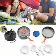 AGPTEK®Camping Cookware Kit Backpacking Gear Hiking Cook Equipment 8pcs Pot Pan