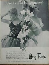 1956 women's Lily of France black white lace bras vintage fashion ad