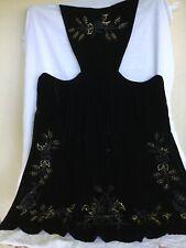 tablier Bretagne Vannes costume breton velour noir brodé main perles or bleu