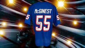 WILLIE McGINEST AUTOGRAPHED CUSTOM NEW ENGLAND PATRIOTS THROWBACK JERSEY