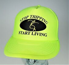 Stop Tripping Start Living Truckers Cap Plastic Snap Snapback Hat Lime Green