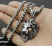 Silver/Gold/Black Tone Fashion Men's Lion  Stainless Steel Pendant Necklace Gift