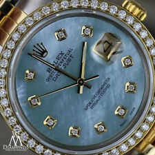 Women's Rolex 26mm Datejust 2 Tone Baby Blue Mother Of Pearl Dial with Diamond
