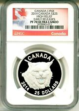 2014 Canada S$25 Lynx Ultra High Relief Early Release NGC PF70 Ultra Cameo