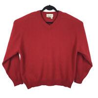 Eddie Bauer 100% Cashmere Knit Soft Red V-Neck Sweater Men's Large