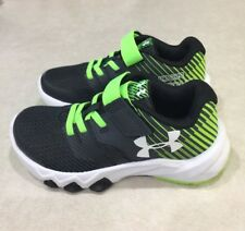 "UNDER ARMOUR ""Primed 2"" Youth Anthracite/Hyper Green/White Running Shoe~Size 12K"