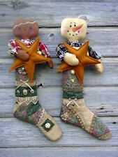 Primitive Pattern Stocking Babies Snowman & Gingerbread Babies in Stocking #CF