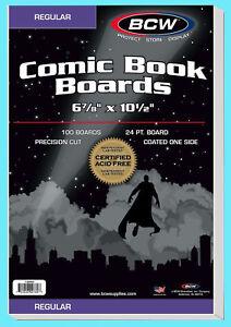 "100 BCW REGULAR SIZE COMIC BOOK BACKING BOARDS 6-7/8"" x 10-1/2"" Modern Storage"