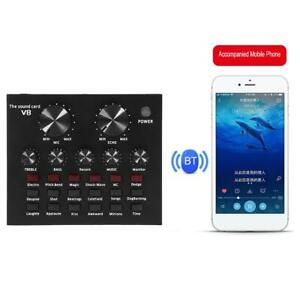 V8 Audio Bluetooth 5.0 USB Headset Mic K Song Stereo Live Broadcast Sound Card