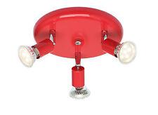 Élégant GU10 plafond laqué rouge & chrome 3 voie ronde plafond spot luminaire
