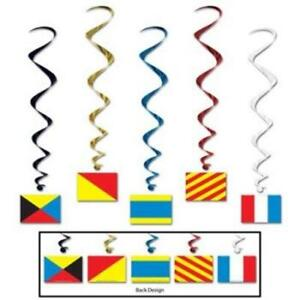 Nautical Flag Hanging Whirls 6 Pack Nautical Cruise Party Birthday Decoration