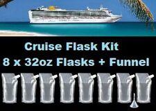 Cruise Flask Kit (8x 32oz + Funnel) Smuggle Rum Alcohol Liquor Plastic Runner