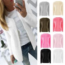 Womens Long Sleeve Winter Top Fur Cardigan Open Front Sweater Jumper Coat Jacket