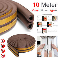 10M Draught Draft Excluder Self Adhesive Rubber Door Window Seal Strip Roll Tape