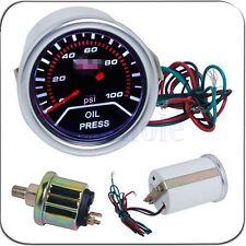 "Universal Digital Car Auto 2"" 52mm LED 100 PSI Oil Pressure Press Gauge Meter BE"