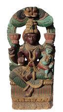 """Ancien Panneau bois sculpté statue hindoue Shiva 122 cm-48"""" Nepal-Inde"""