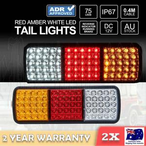 2x 75 LED Tail Lights Stop Indicator Reverse Lamp 12V Trailer Truck Ute Light OZ