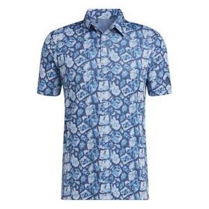 adidas Golf Cobblestone-Print Recycled Content Mens Polo Shirt Sonic Aqua/Violet