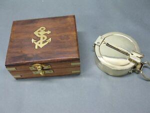 Messing Kompass 75 mm  Schiffskompass mit Holzbox