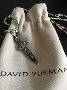 David Yurman Sterling Silver Dagger Amulet With Black Diamonds