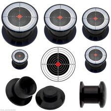 Pair-Bulls Eye Target Screw On Stash Acrylic Ear Plugs 10mm/00 Gauge Body Jewel
