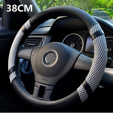 High Quality Gray 38cm/15'' Microfiber Leather Ice Silk Car Steering Wheel Cover