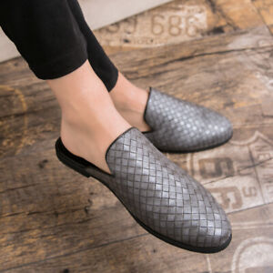 Mens Faux Leather Slippers Loafers Mules Sandals Pumps Slip On Breathable Shoes