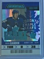 Rasmus Sandin 'Debut Ticket Access' 2019-20 Upper Deck Credentials 🏒 #393/499