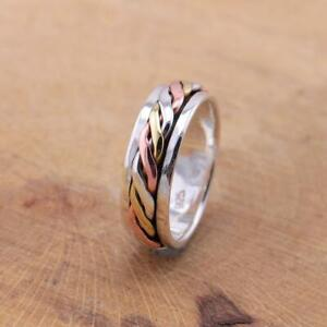 Mens Womens 925 Sterling Silver Tri Colour Celtic Spinning Worry Band Ring