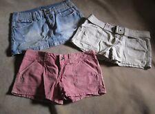 American Eagle 2 Shorts, 1 Skirt Lot - All Sz 8   Blue Denim, Pink, Tan