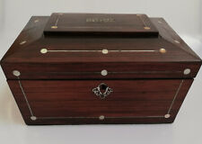 Antique Late Georgian Large Rosewood and Mother of Pearl Jewellery Box