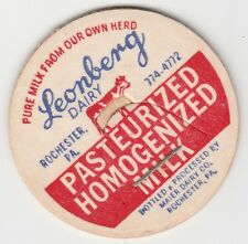 MILK BOTTLE CAP. LEONBERG DAIRY. ROCHESTER, PA.