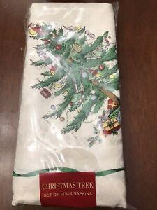 Spode Christmas Tree Set of 4 Dinner Napkins Cloth 20x20 Avanti / NIP