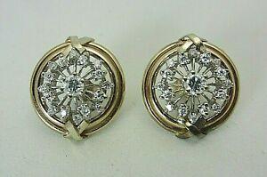Vintage 14K White Gold and 1.00 Carat Diamond Earrings X